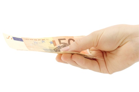 Hand holding money on a white background photo