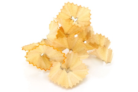 wood shavings: Pencil shavings close-up on a white background Stock Photo