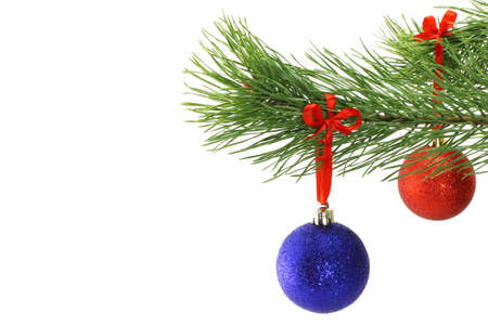 Christmas balls on fir tree branch on white background photo