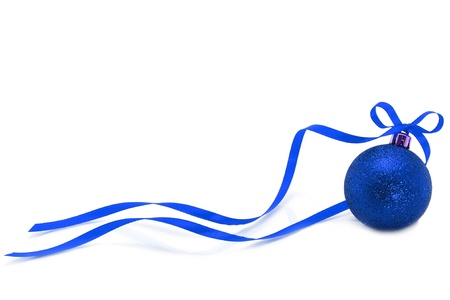 Blue Christmas ball with ribbon on white background  Stock Photo