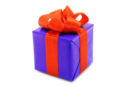 Blue present box with red bow on a white background  photo