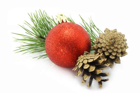 Christmas ball with pinecone and fir tree on a white background photo