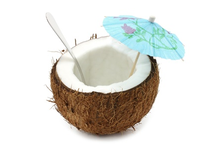 Coconut cocktail on white background Stock Photo - 11824633