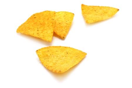 corn chip: Mexican nachos on white background