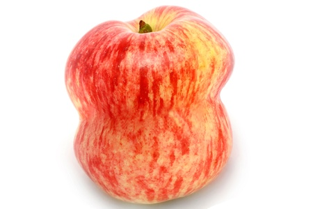 deformation: Red apple on white background