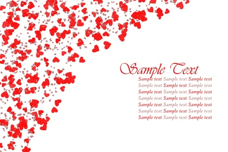 romance image: Red hearts confetti on white background