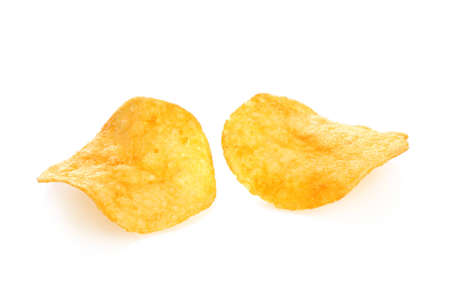 titbits: Two potato chips on a white background