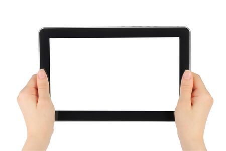 Woman hands holding touch screen device on white background Stock Photo