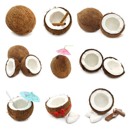husk: Coconuts on white background Stock Photo