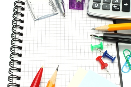 large group of items: School office supplies  Stock Photo