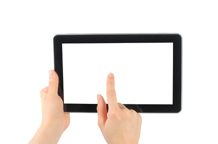 Woman hands with touch screen device on white background  Stock Photo - 13060392