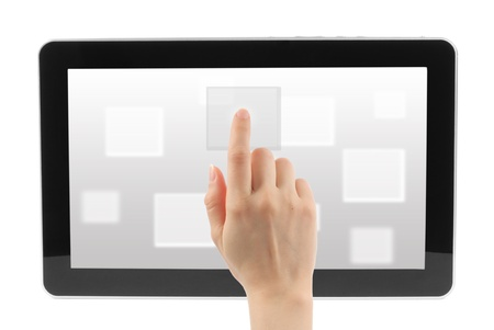 Woman hand with touch screen interface on white background  Stock Photo