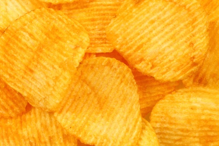 Heap of potato chips texture for background  Stock Photo