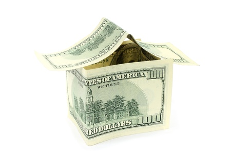 House made of money on white background  photo