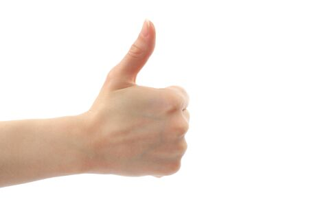 Woman hand with thumb up isolated on white background Stock Photo - 13280896