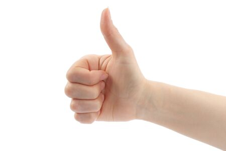 Woman hand with thumb up isolated on white background Stock Photo - 13280901