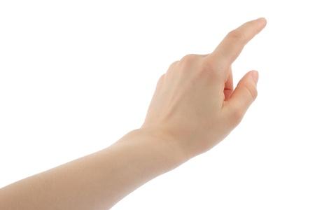 dedo �ndice: Mano de la mujer sobre fondo blanco