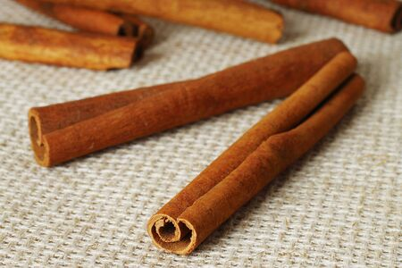 Cinnamon sticks on the sacking cloth  photo