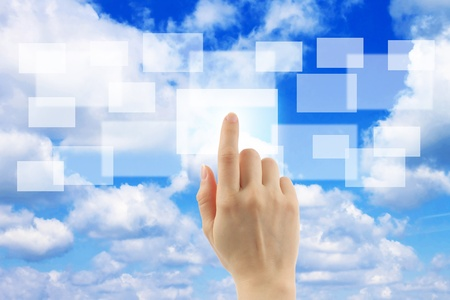 cloud transfer: Cloud computing concept with woman hand