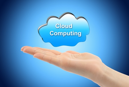 Cloud computing concept with woman hand Stock Photo - 13260290