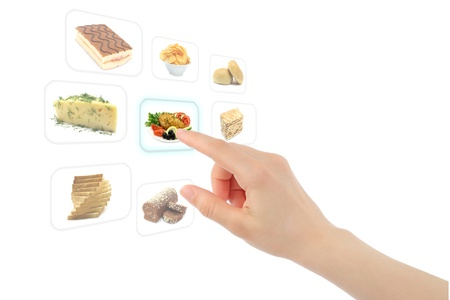 Woman hand uses touch screen interface with food photo