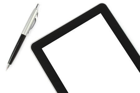 Touch screen device and pen on white background photo