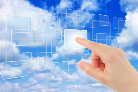 Cloud computing concept with woman hand  Stock Photo - 13515491