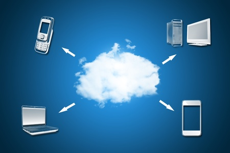 Cloud computing concept with network diagram  photo