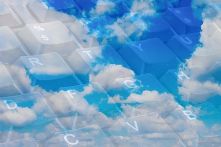 Cloud computing concept with keyboard keys photo