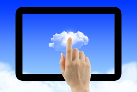 Cloud computing concept with tablet pc frame photo