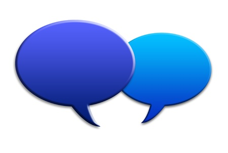 voices: Two social media talk speech bubbles with shadows on white background Stock Photo