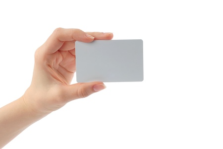 charge card: Hand holds charge card on white background
