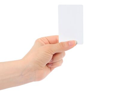 cashpoint: Hand holds charge card on white background