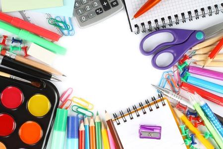 School stationery on white background Stock Photo - 14085798