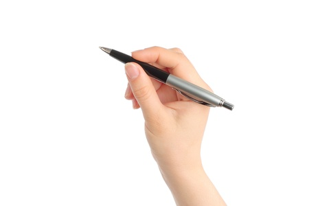 Hand with pen on white background Stock Photo - 14085592