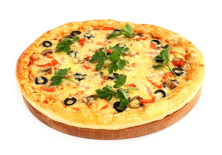 Pizza on wooden round board  photo