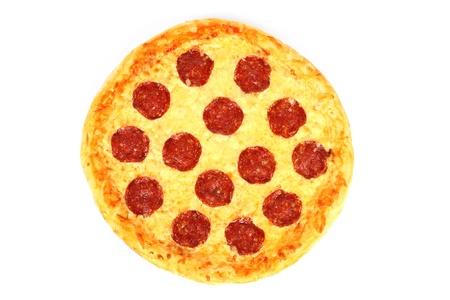 Salami pizza on white background photo