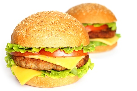Cheeseburgers on white background photo