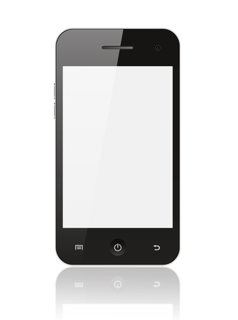 smart  phone: Smart phone with blank screen isolated on white background Stock Photo