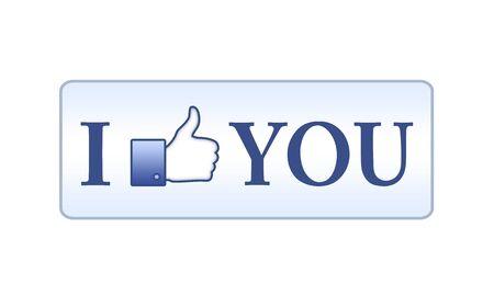 I like you button on white background photo