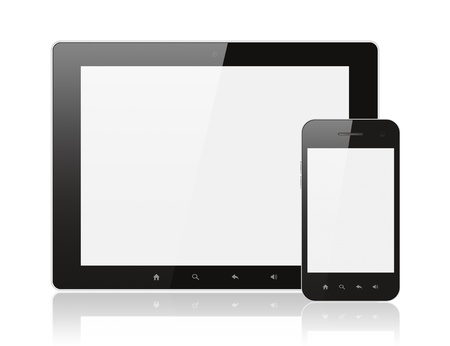Modern realistic digital tablet PC with smartphone on white background photo