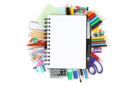 secondary school: Stationery items on a white background