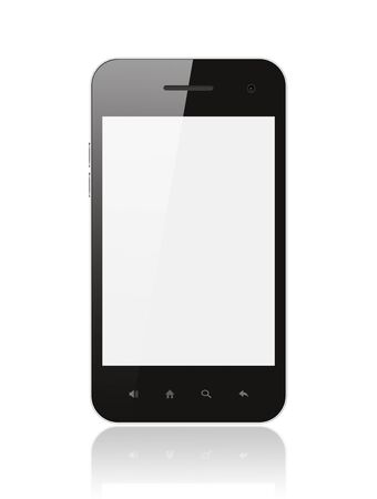 smart: Smart phone with blank screen isolated on white background