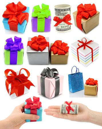 Collage of presents on white background  photo