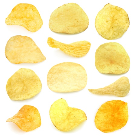 potato chips: Set of potato chips close-up