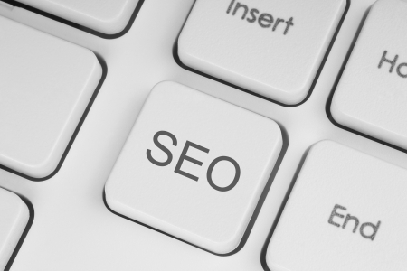 search result: SEO button on the keyboard close-up