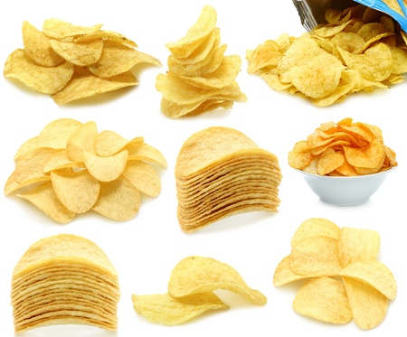 potato chip: Set of potato chips heaps on a white background