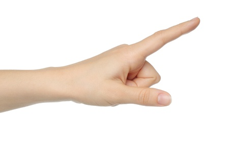 dedo indice: Mano de la mujer sobre fondo blanco