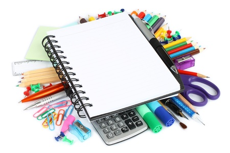 primary colors: Stationery items on a white background  Stock Photo