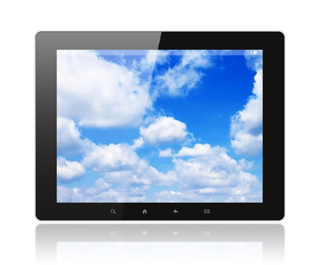 Tablet pc with blue sky on white background Stock Photo - 15569746